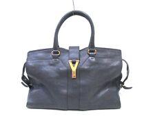 Auth Yves Saint Laurent rivegauche (YSL) Cabas Chyc 279079 Gray Leather Handbag