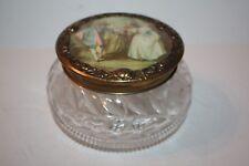 Antique Crystal and Brass Mirrored Top Dresser Jar