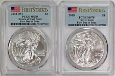 2018 $1 (W) and Non (W) Silver Eagle 2 coin Set PCGS MS70 First Day of Issue