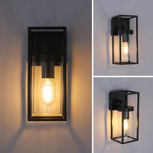 LED Rectangular Wall Light Clear Metal Lantern Up Dwon Light Wall Sconce Lamp UK