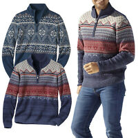 Mens Jumper 1/4 Zip Jacquard Knitted Funnel Neck Half Zip Sweater Pullover S-4XL