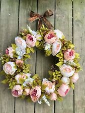 "22"" Silk Door Wreath, Spring Wreath, Blush, Pink Peony Wreath, Mantle, Fireplace"