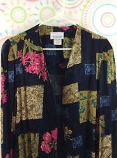 Cardigan 16 Open Front Rayon Long Sleeve Floral Pink Navy Blue Gold Periwinkle