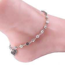 Women Lady Flower Heart Chain Anklet Bracelet Barefoot Sandal Beach Foot Jewelry