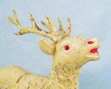 Reindeer Celluloid Toy Vintage Christmas Putz Railroad Display Cream Glitter Lg2