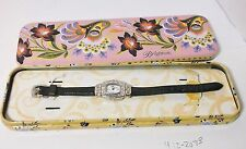"""Brighton """"Lancaster"""" Watch Floral Design Black Leather Band+Tin +New Battery"""