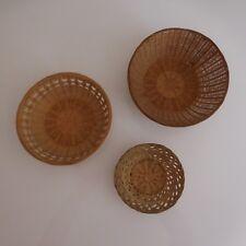 3 Basket Rattan round Handmade Vintage 20th Art Deco Design Pn France