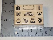 HERO ARTS LP342 BIRTHDAY ICON WOOD MOUNT RUBBER STAMPS SET OF 10 NEW A1377