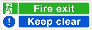 FIRE EXIT KEEP CLEAR Sign Sticker Vinyl Health and safety 300mm x 100mm