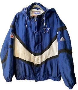 Vtg 90s Dallas Cowboys Apex One Pro Line Jacket L NFL Football Puffer Coat Parka