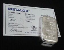 METALOR SWISS 100g GRAM 999 FINE SILVER CERTIFIED NUMBERED BULLION BAR -NOT GOLD