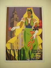 CARTEL SEMAN SANTA Y FERIA DE SEVILLA 1944 FIESTAS PRIMAVERALES LITOGRAFIA