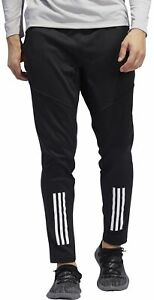 adidas 3 Stripe ClimaWarm Mens Training Pants Black Zip Pockets Workout Joggers