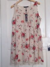 BNWT Cream Floral Dress From George - Size 16 - Sleeveless - Lined - Lace Trim