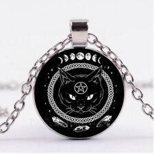 Hot Cabochon Glass necklace Silver/Bronze/Black pendant black cat Pentagram cn98