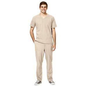 WonderWink Scrubs Set W123 Men's V-Neck Top & Flat Front Pant 6355/5355 Tall