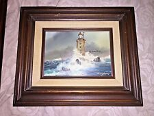 """Pair of Oil Paintings of Am. Lighthouses  signed  W.E. HANS 10"""" x12"""" Framed"""""""