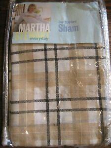 NOS Martha Stewart STANDARD Pillow SHAM Cotton Blend USA 1997 BLACK TEA PLAID PA