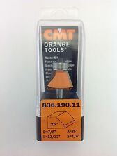 """CMT 836.190.11 Chamfer 25° Router Bit, 1/4"""" Shank, 7/8"""" Diameter,  Made in Italy"""