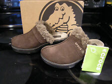 Brand New Womens Brown Crocs Cobbler Leather Clog Slide On Shoes, Size 5