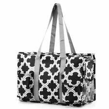 All Purpose Zip Travel Laundry Shopping Utility Tote Bag Black Quatrefoil