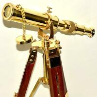 Nautical Brass Telescope Vintage Decor Marine With Maritime Wooden Tripod Stand