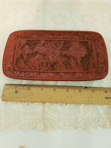 Antique Red Carved Cinnabar Lacquer Chinese Jewelry Trinket Tray pre WW 2 stored