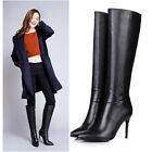 Womens Sexy Stilettos Heel Pointy Toe Knee High Leather Zip Boot Shoes Plus Size