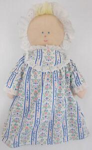 EDEN LANZ OF SALZBURG Doll Plush Blue Flannel Nightgown Cap Blonde Blue Eyes