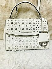 Michael Kors Ava XS Floral Laser-Cut Crossbody Bag White Silver Authentic