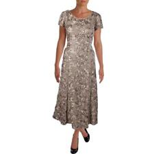 Alex Evenings 4054 Womens Gold Sequined Evening Dress Gown Petites 14P BHFO