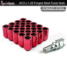 M12 x 1.25 Tuner Nuts for Alloy Wheels Slim Internal Drive Forged Steel Red