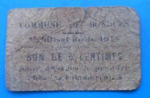 WW1 59 Nord Bondues 5 centimes , Pirot 59-2881 , R
