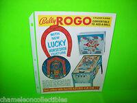 ROGO By BALLY 1973 ORIGINAL NOS PINBALL MACHINE PROMO SALES FLYER NM