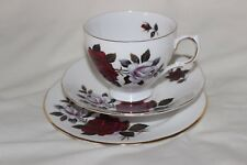 Colclough Red and White Roses Trio Tea Cup Saucer Cake Plate