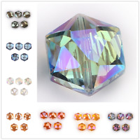 10Pcs Hexagon Faceted Crystal Glass Charms Spacer Rondelle Beads Craft Making