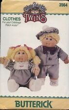 Butterick 3564 Sewing Pattern Cabbage Patch Kids TWINS Doll Clothes UC VTG 1985