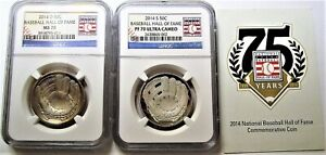 2014 Baseball Hall of Fame .50 Coins, S and D Mints, NGC Graded PFUC70 and MS70