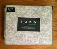 NEW-RALPH LAUREN-QUEEN SHEET SET~FLORAL & LEAVES PATTERN~GRAY &WHITE-100% COTTON