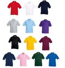 3-Pack Fruit of the Loom Kids Plain Poly/Cotton Piqué Polo Shirt Sports Golf New