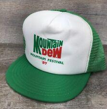 VTG NOS Mountain Dew Soda 1980s 87 Festival Snapback Trucker Hat Farmer USA J