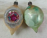 Vintage Poland Hand Painted Tear Drop Glass Christmas Tree Ornament Lot of 2