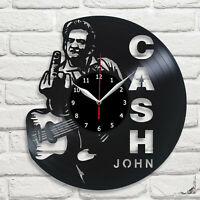 Johnny Cash Vinyl Record Wall Clock 12'' 30cm Fan Art Decor Home Wanduhr 419
