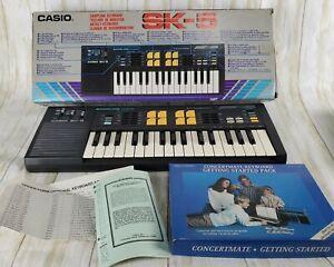 1980's Casio SK-5 Sampling Keyboard Made In Japan RARE Tested Box & Manual