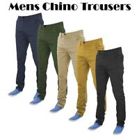 Mens Designer Jeans New Chinos Stretch Skinny Slim Fit Trousers All Waist Sizes