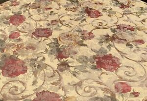 Croscill Fabric Shower Curtain Jacquard Flowers Floral Gold Burgundy Brown