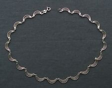 SOLID 925 STERLING SILVER ELEGANT FAN LIKE NECKLACE COLLAR CHOKER 16""