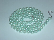 Vintage Heavy Knotted Duck Egg / Mint Green Pearl Bead Strand String Necklace