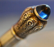 RARE ANTIQUE PROPELLING PENCIL 830 SILVER W BLUE CABUCHON GERMANY 1930´s