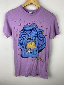 Vintage 90s Aladdin Mens T Shirt Size XS Double Graphics Print Crew Neck Purple